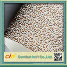 Gold Embossed Design PVC Leather Vinyl