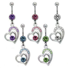 Surgical steel cubic zirconia heart dangle belly bar body jewelry