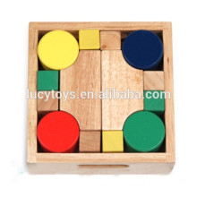 high quality wooden magic block set with wooden box packaging