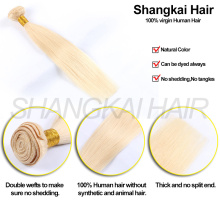 Cheap Wholesale high quality Brazilian Remy Human Blonde Virgin Clip-in Hair Extensions
