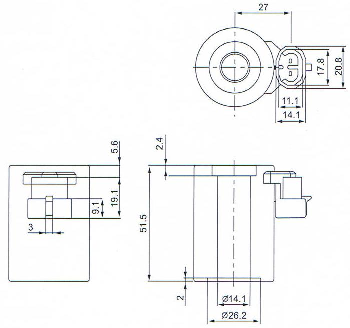 Overall dimension of 14 mm diameter Solenoid Coil For BRC Reducer Valve