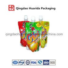 Saft Flüssig Stand up Packaging Bedruckte Tasche mit Cap