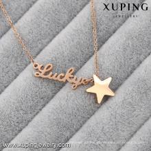Colar-00048-xuping presentes personalizados colar de ouro placa de identificação colar de aço inoxidável