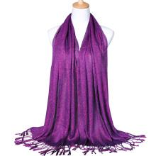 2017 Moda dama algodón llano oro alambre brillo chal musulmán hijab bufanda dubai con borlas