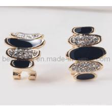 Brincos Oval Especial Design Pedra