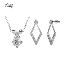 2018 Wholesale Stud Earrings and Pendant Necklace Jewelry Set with High Quality Crystal