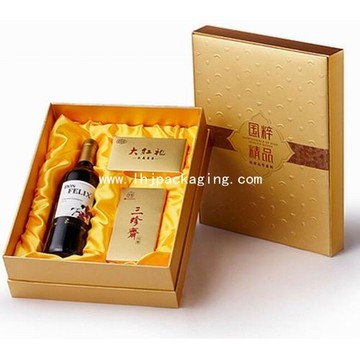 Gold Red Wine and Tea Packaging Gift Box with Satin