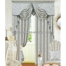 Diseño de lujo morden cortina tela de cáñamo para sala de estar