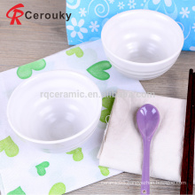 Durable pure white embossed crockery food bowl,fine quality white glazed ceramic food cereal bowl