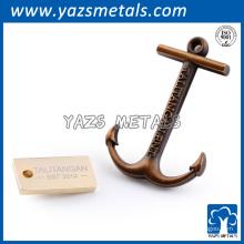 Custom âncora machado tag metal ouro prata antiquado lapela lapela