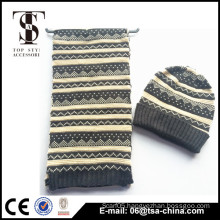 wholesale high quality warm hand knitted scarf and hat