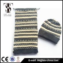 Écharpe et chapeau tricotés à la main chaud haute qualité en gros
