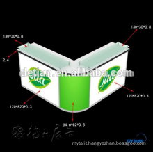 Small L shaped Acrylic reception desk , round desk , counter , display reception desk