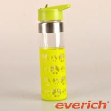 Botella de agua de cristal de pared doble barata saludable