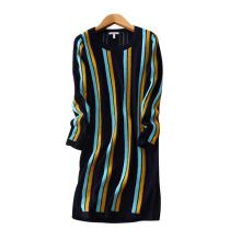 Lady Kaschmir Kleid Kontrastfarbe vertikalen Streifen Dekor über Knie Kleider mit O-Ausschnitt langen Ärmeln