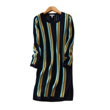 Lady's cashmere dress contrast color vertical stripe decor above knee dresses with O-neck long sleeves