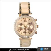 Diamante en bisel cuarzo reloj de pulsera para las mujeres