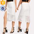 Рюшами Подол асимметричный кружева юбка Производство Оптовая продажа женской одежды (TA3094S)