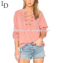 индивидуальный дизайн V-образным вырезом сексуальный длинным рукавом кружева женщины блузка