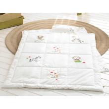 Edredones de bebé de algodón orgánico Set bebé productos blanco bordado bebé almohada y edredón