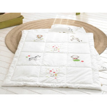 Organic Cotton Baby Quilts Set Baby Products White Embroidered Baby Pillow and Quilt