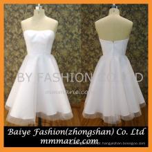 2016 strapless tulle joelho comprimento curto vestidos de noiva padrões