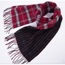 Hombres 100% lana de doble cara con mantel Plaid bufanda larga