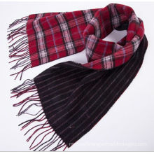 Men 100% Wool Double Faced Check Plaid Long Scarf
