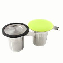 Amazon Hot Selling 18/8 # hoja de acero inoxidable taza de café con infusión incrustado cesta de infusión de té té de hierbas Steeper tea colador