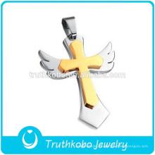 Cruz de ouro anexado prata asas de ângulo 316L pingente de aço inoxidável