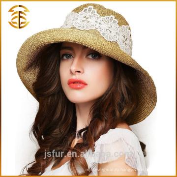 Новая мода Дешевые женщины колумбийской соломенной шляпе Fedora