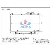 High Quality Auto Radiator for Stream′ 01-04 Rn1/K17A at OEM 19010-Psa-901