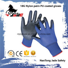 18g Blue Lind Palm Negro PU recubierto Industrial Guante