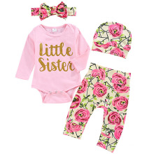 Spring Hot Style Girls Rose Little Sister Print Dress 4 Pieces Set
