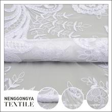 Tela bordada floral profesional nueva de la cinta blanca de Tulle del diseño