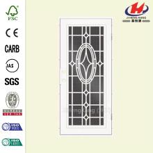 Modern Cross White Right-Hand Surface Mount Aluminum Security Door