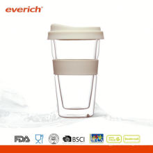 Tasse à café en verre double couleur