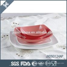Conjunto de jantar de porcelana 24pcs, conjunto de porcelana, conjuntos de pratos, louça de forma quadrada