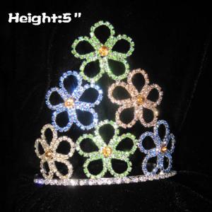 5inch Flower Crystal Pageant Coronas de primavera