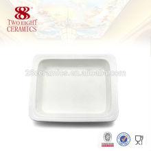 Vente en gros de dîner buffet blanc en céramique servant des plats carrés