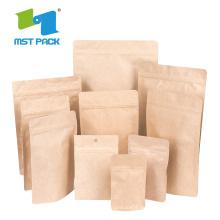 Nahrungsmittelgrad-Brown-Kraftpapier-Kaffee-kompostierbare Tasche