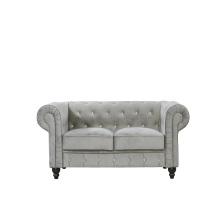 Modern European living room grey velvet chesterfield sofa 2 seat knock down set sofa