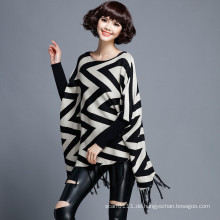 Frauen Mode Wellenmuster Baumwolle Nylon Gestrickte Fringe Poncho (YKY2052)