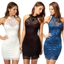 Vestidos de verão estilo casual doce Halter Sleevess Design mulheres Party Dress