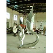 Sculpture en acier inoxydable Deux pigeons Art Sculpture pour jardin / extérieur