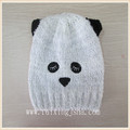 Panda kids knitted animal hats black applique children hats
