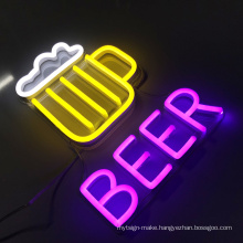Wholesale wall mounted beer sign custom led neon sign unbreakable neon letter sign for bar restaurant