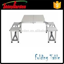 Mesa de comedor plegable de aluminio portátil y silla con paraguas para la opción