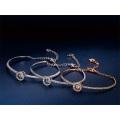 European American Fashion Jewellery Jewelry Dance Beating Heart Diamond Blue White Crystal Bangle Bracelet for Women