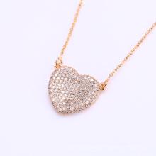 41863 vente chaude indien or plaqué collier de mode 18k en alliage de cuivre zircon blanc collier de bijoux en pierre